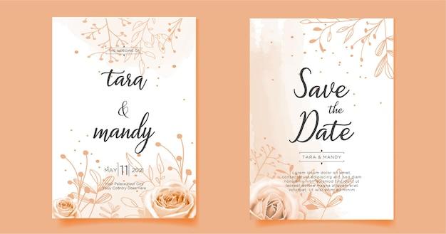 Disegno floreale della carta dell'invito di nozze con il tiraggio della mano