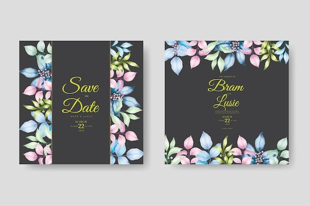 Carta di invito matrimonio floreale e foglie acquerello