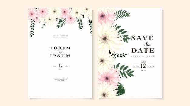 Set di cornici per biglietti di invito a nozze fiori abbozzati foglie rami fogliame ghirlande floreali erbe