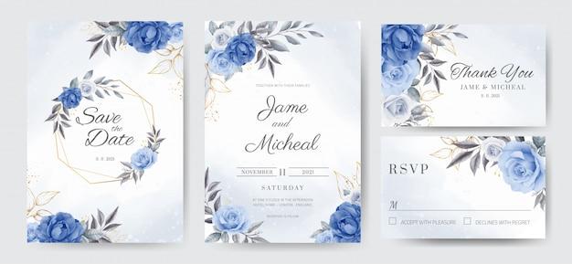 Carta di invito di nozze cornice dorata con rose blu navy. set di carte modello.