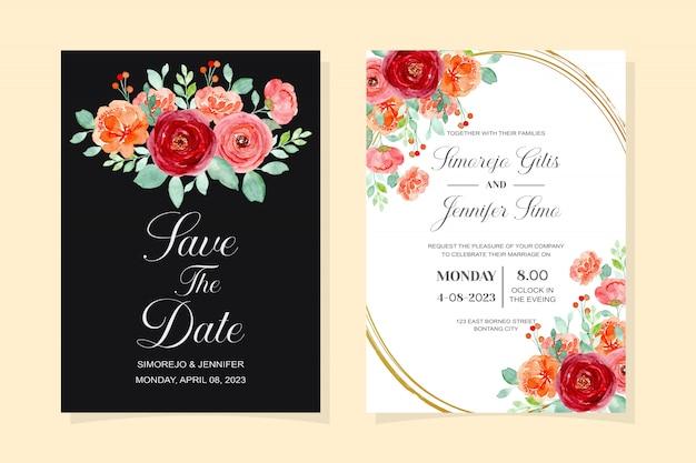 Carta di invito di nozze fiore rosso con foglie verdi acquerello