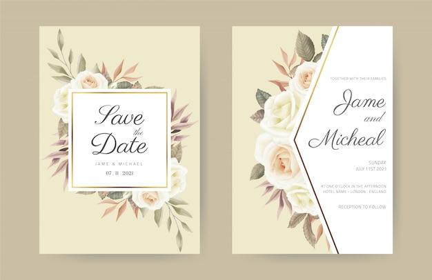 Modello delle rose della carta dell'invito di nozze. fiore dell'acquerello elegante.