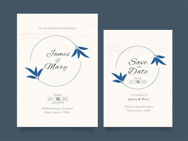 Scheda dell'invito di nozze e layout del modello di data di salvataggio in colore bianco.