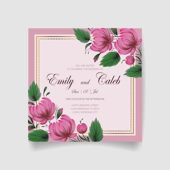 Carta di invito a nozze, salva la data con cornice dorata, fiori, foglie e rami.