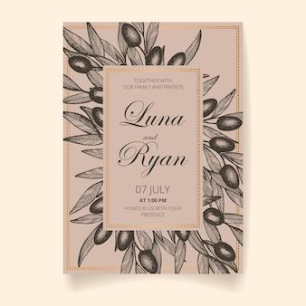 Carta di invito di nozze, salva la data con cornice dorata, olive, foglie e rami.