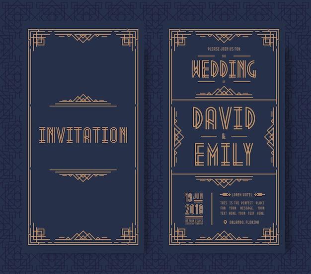 Carta di invito a nozze imposta colore oro stile art déco