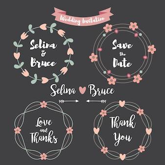 Scheda di invito di nozze. set di cornice floreale per carta di ringraziamento, inviti di nozze, carte di compleanno, lettere calligrafiche, emblema e etichetta. elementi di design di nozze in stile lavagna.