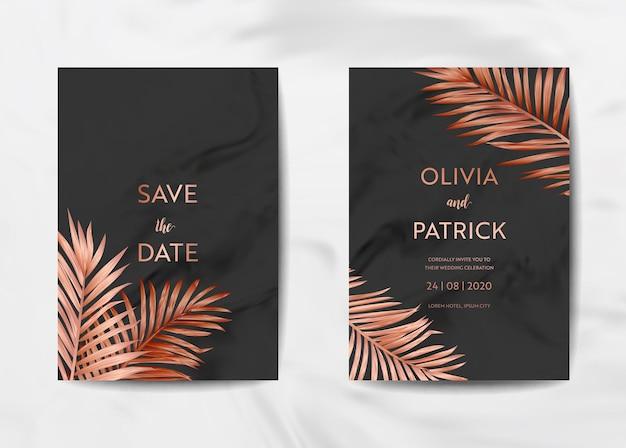 Set di biglietti per inviti di nozze, save the date con sfondo in marmo alla moda e foglie di palma tropicali dorate. illustrazione del modello rsvp nel vettore