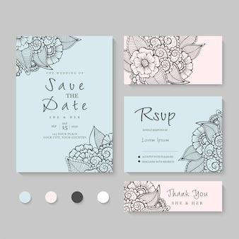 Modello di set di carte invito a nozze con bella cornice floreale