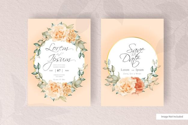 Modello stabilito della carta dell'invito di nozze con la decorazione dei fiori e delle foglie. corona di piante alla moda, elementi rustici vintage, carte con cornice floreale.