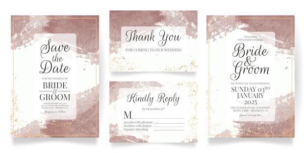 Modello di set di carte invito a nozze con sfondo acquerello
