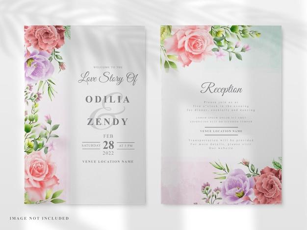 Carta di invito a nozze set con fiori colorati disegnati a mano