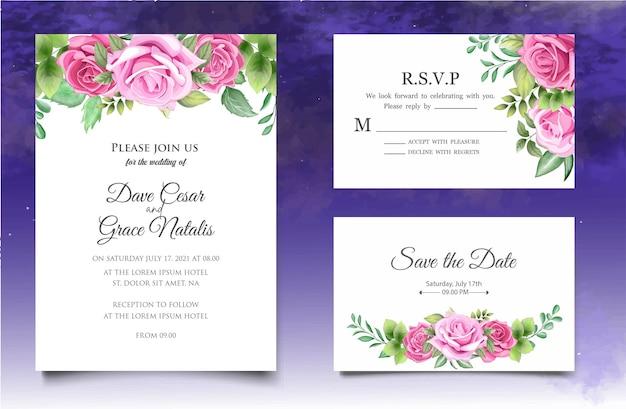 Carta di invito a nozze con eleganti foglie floreali