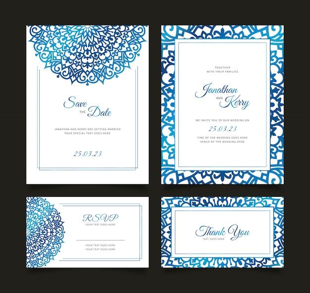 Insieme di carta dell'invito di nozze con il modello astratto floreale del fondo