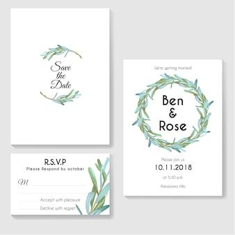 Carta di invito di nozze con foglie rotonde