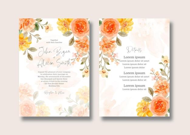 Carta di invito a nozze con fiore di rosa dell'acquerello