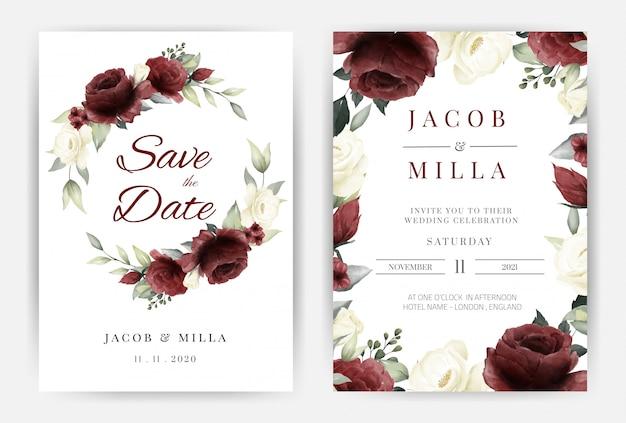 Insieme di carta dell'invito di nozze con il modello dell'acquerello della rosa rossa e bianca della corona