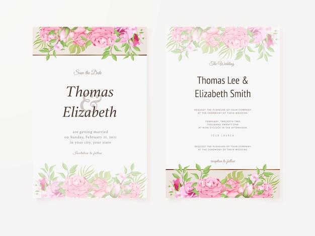 Carta di invito a nozze modello floreale estivo design