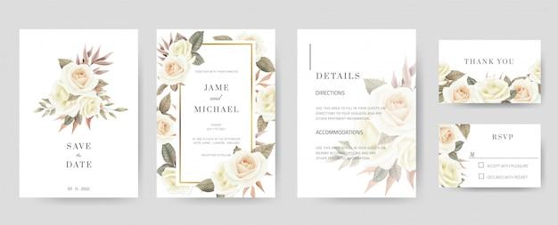 Il modello di biglietto d'invito di nozze è composto da dettagli di salvataggio della data, grazie, rsvp. acquerelli e rose bianche dipinte a mano. set di carte vintage e minimal.