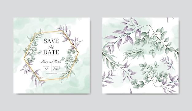 Modello di carta di invito a nozze e foglie senza cuciture set bundle