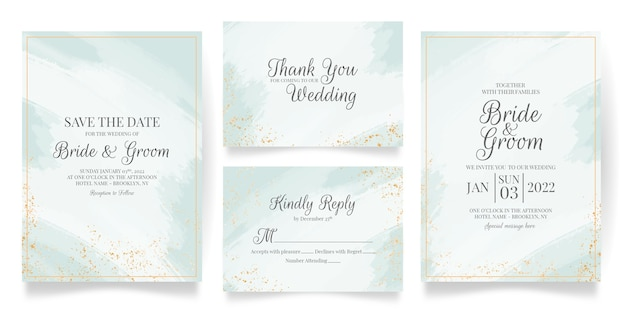 Modello di carta di invito a nozze impostato con acquerello astratto e decorazione di foglie tropicali