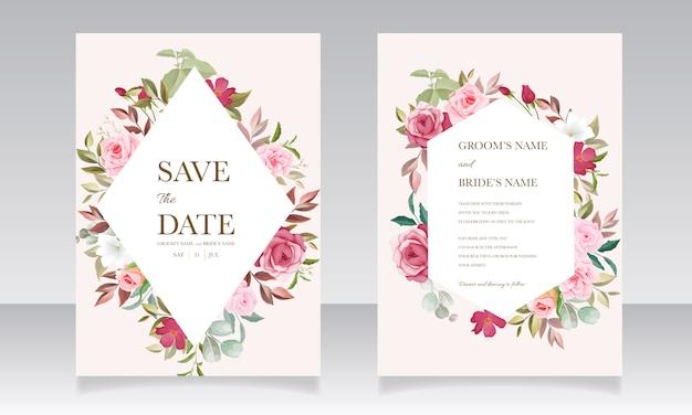 Modello di carta di invito a nozze con bellissime decorazioni floreali