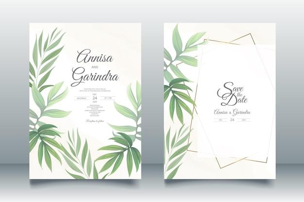 Modello di carta di invito a nozze con bellissime foglie tropicali