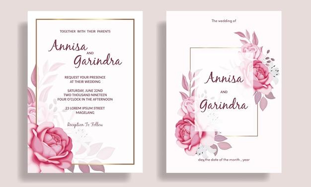Modello di carta di invito a nozze con cornice floreale romantica