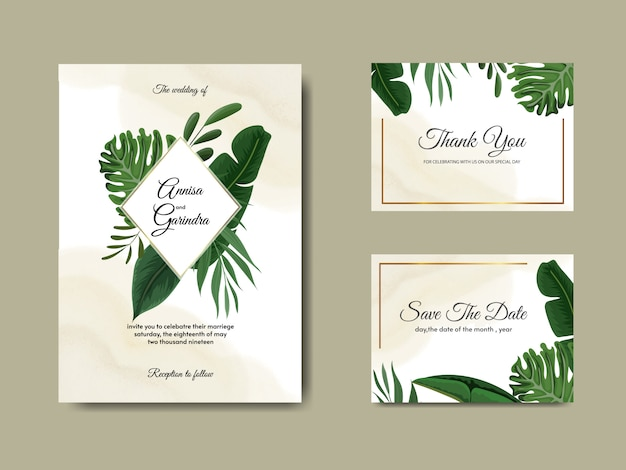 Il modello della carta dell'invito di nozze ha messo con la decorazione tropicale delle foglie