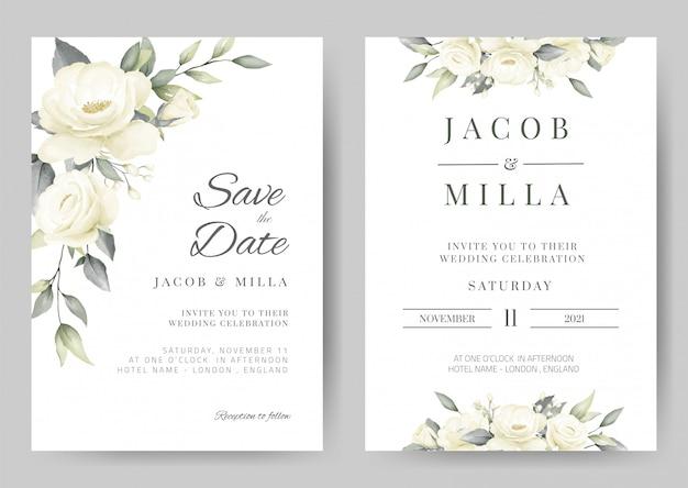 Modello di scheda dell'invito di cerimonia nuziale impostato con il fiore della pittura dell'acquerello del mazzo della rosa di bianco