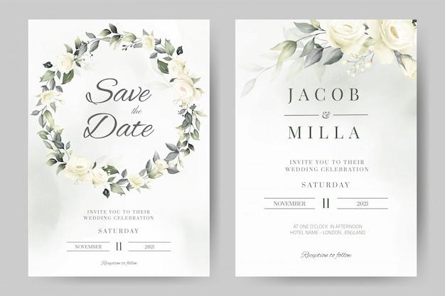 Modello di scheda dell'invito di nozze impostato con pittura ad acquerello congedo corona ghirlanda di rose bianche