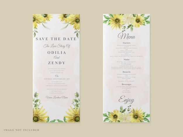 Tema del girasole del modello della carta dell'invito di nozze