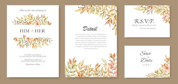 Modello di carta di invito a nozze con foglie d'autunno