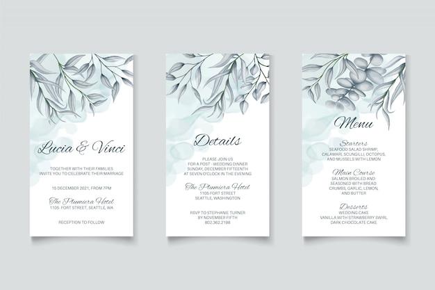 Modello della carta dell'invito di nozze con la raccolta stabilita del pacchetto del bello fondo floreale