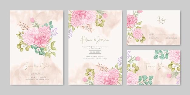 Modello di carta di invito a nozze con bellissimo mazzo floreale set bundle
