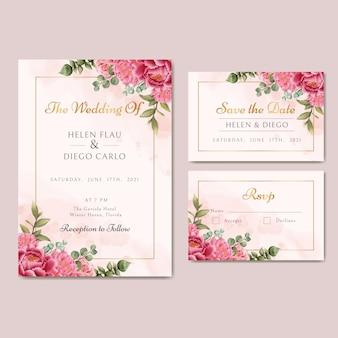 Modello di carta di invito a nozze con bellissimi fiori e foglie