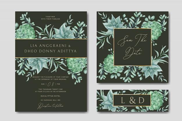 Modello di carta di invito a nozze con bellissimi fiori