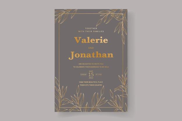 Modello di carta di invito a nozze con bellissimo ornamento in foglia d'oro