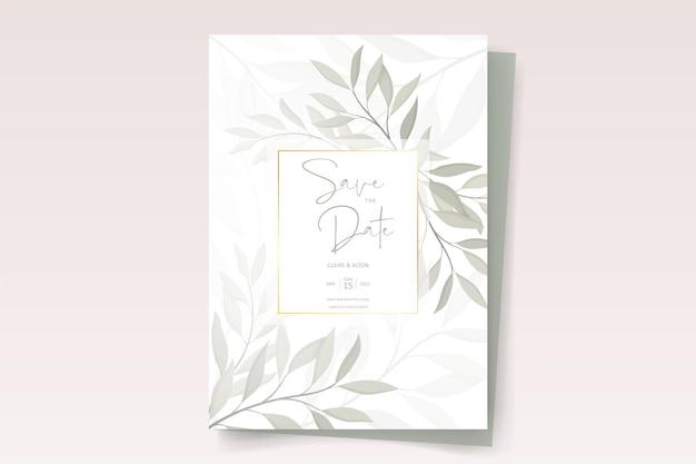 Modello di carta di invito a nozze con bellissimo ornamento a foglia Vettore Premium