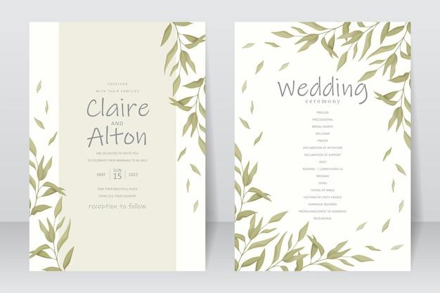Modello di carta di invito a nozze con bellissimo ornamento a foglia