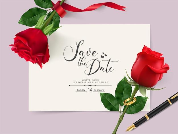 Modello di carta di invito a nozze con una bella rosa rossa e anello di coppia e.