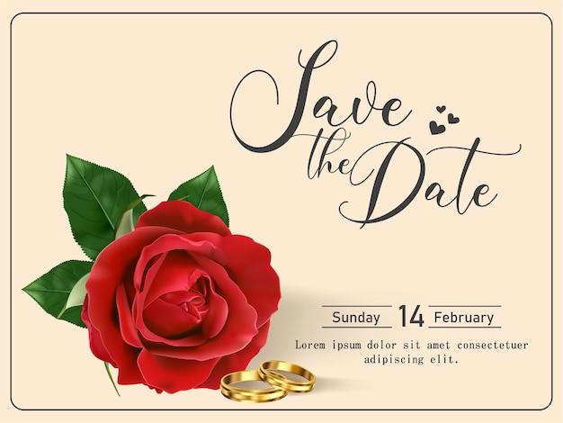 Modello di carta di invito a nozze con bella rosa rossa
