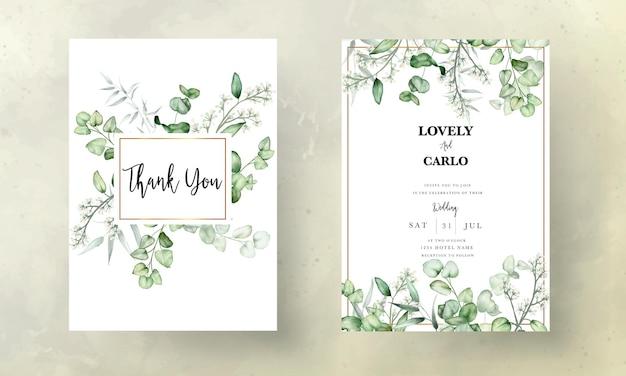 Modello di carta di invito a nozze con foglie di eucalipto acquerello
