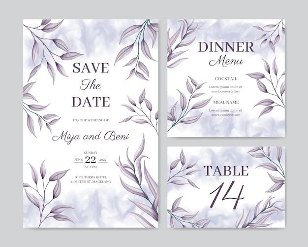 Modello di carta di invito a nozze con ornamenti floreali