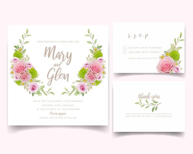 Modello di carta di invito di nozze con rose rosa floreali