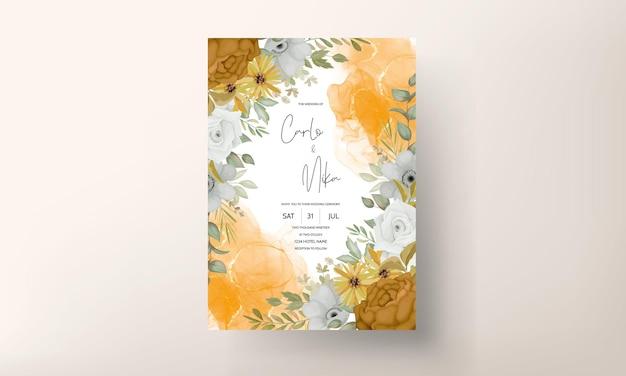 Modello di carta di invito a nozze con autunno autunno floreale disegnato a mano