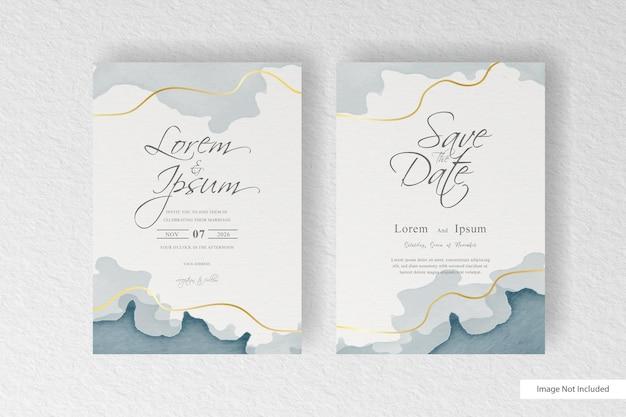 Modello di carta di invito a nozze con astratto dipinto disegnato a mano