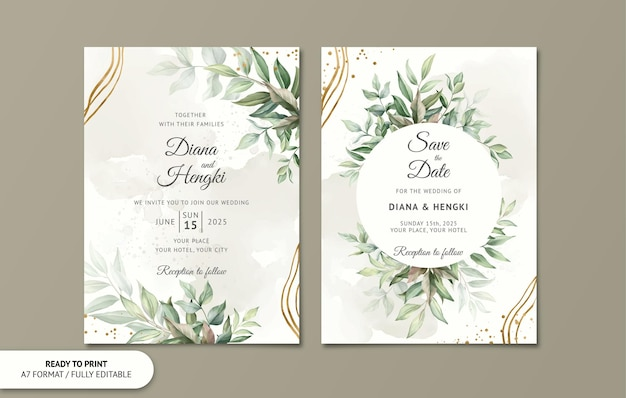 Modello di carta di invito a nozze con foglie oro acquerello