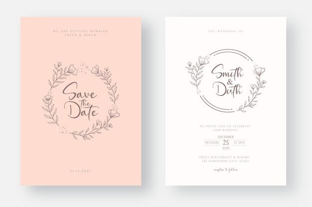 Modello di carta di invito a nozze con linea arte floreale