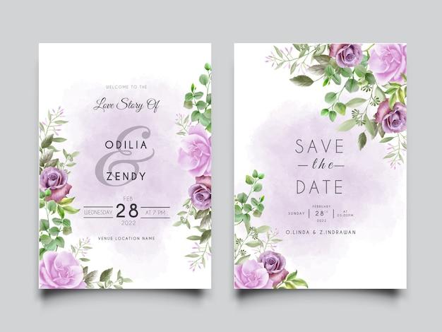 Modello di carta di invito a nozze con disegno di illustrazione di rose viola